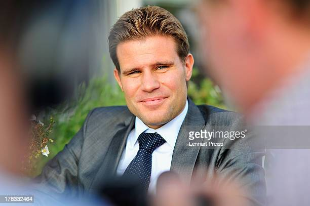 Referee Felix Brych looks on during the Referee Of The Year 2013 awarding ceremony at Hotel Bayerischer Hof on August 29 2013 in Munich Germany
