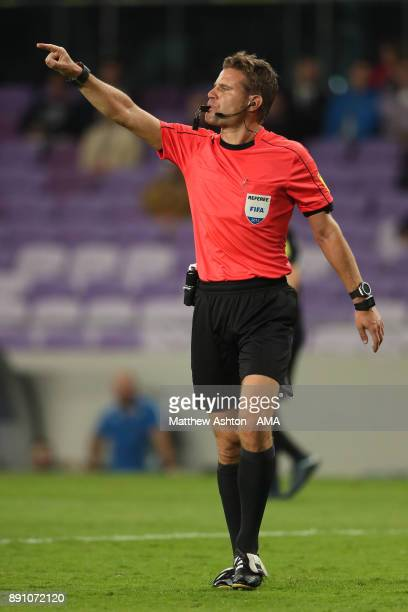 Referee Felix Brych of Germany gestures during the FIFA Club World Cup UAE 2017 semifinal match between Gremio FBPA and CF Pachuca at Hazza Bin Zayed...