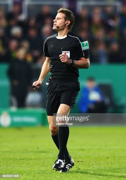 Referee Felix Brych of Germany in action during the DFB Cup quarter final between Sportfreunde Lotte and Borussia Dortmund at Sportpark am Lotter...