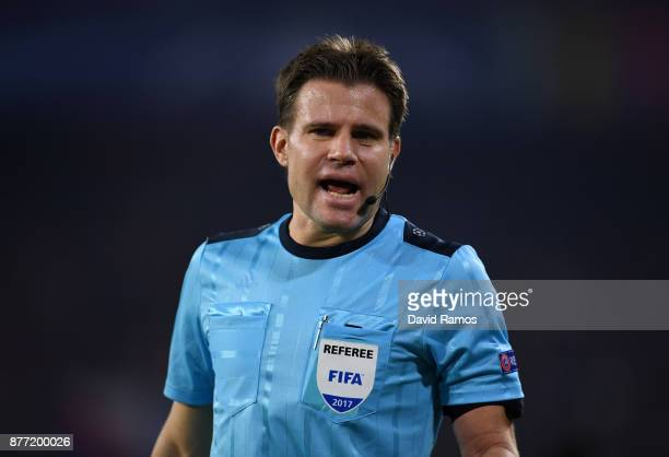 Referee Felix Brych reacts during the UEFA Champions League group E match between Sevilla FC and Liverpool FC at Estadio Ramon Sanchez Pizjuan on...
