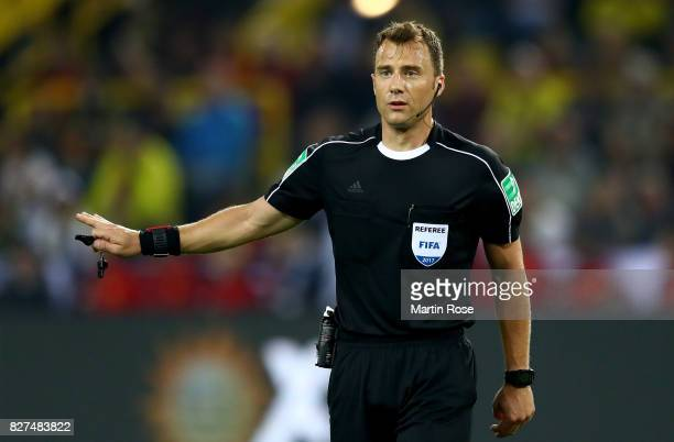 Referee Felix Zwayer gestures during the DFL Supercup 2017 match between Borussia Dortmund and Bayern Muenchen at Signal Iduna Park on August 5 2017...