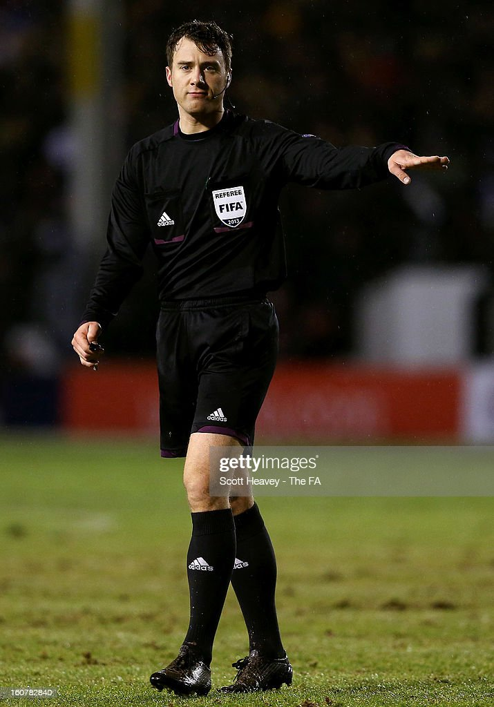 Referee Felix Zwayer of Germany during the International Match between England Under 21's and Sweden Under 21's at Banks' Stadium on February 5, 2013 in Walsall, England.