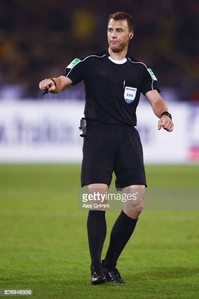 Referee Felix Zwayer reacts during the DFL Supercup 2017 match between Borussia Dortmund and Bayern Muenchen at Signal Iduna Park on August 5 2017 in...