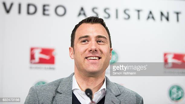 Referee Felix Zwayer smiles during a DFB DFL Video Assistant Referee Press Conference at CommerzbankArena on January 23 2017 in Frankfurt am Main...