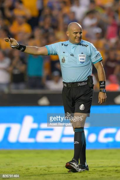 Referee Francisco Chacon in action during the 3rd round match between Tigres UANL and Puebla as part of the Torneo Apertura 2017 Liga MX at...