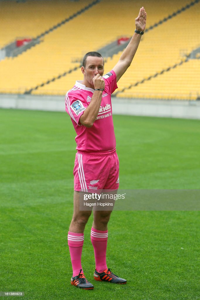 Referee Garratt Williamson poses in the 2013 New Zealand referee's strip during a media announcment at Westpac Stadium on February 11, 2013 in Wellington, New Zealand.