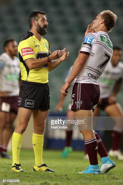 Referee Gavin Badger speaks the Daly CherryEvans of the Sea Eagles during the round nine NRL match between the South Sydney Rabbitohs and the Manly...