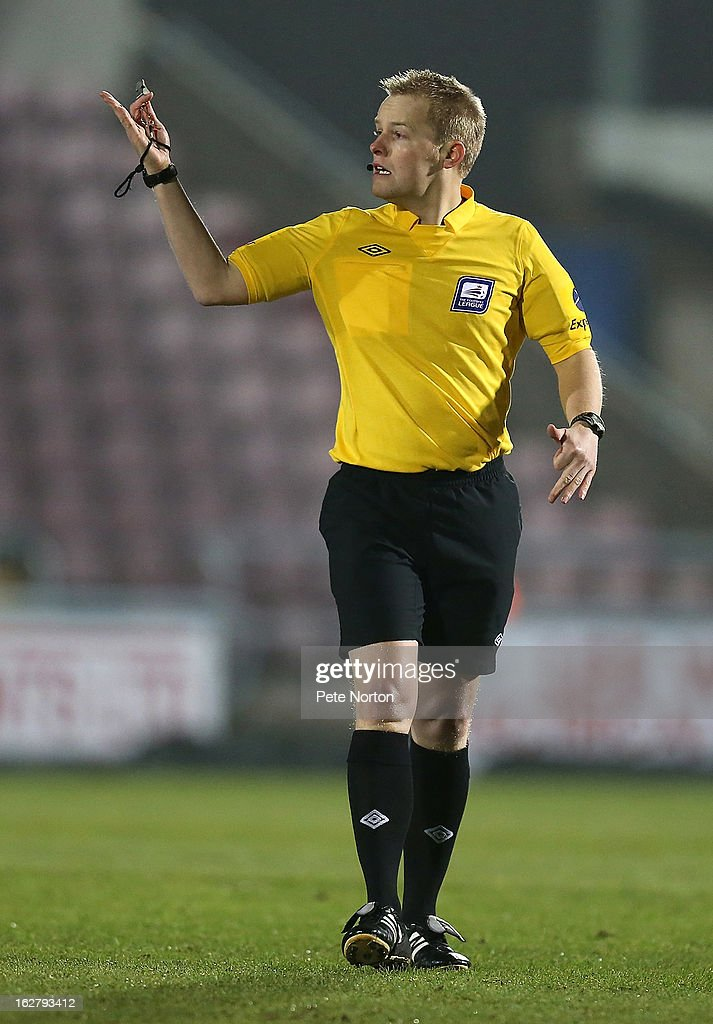 Referee Gavin Ward in action during the npower League Two match between Northampton Town and Bristol Rovers at Sixfields Stadium on February 26, 2013 in Northampton, England.