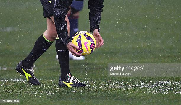 Referee Gianluca Rocchi before the Serie A match between UC Sampdoria and Genoa CFC suspended because of heavy rainfall at Stadio Luigi Ferraris on...