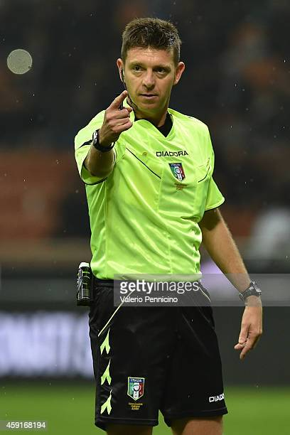 Referee Gianluca Rocchi during the Serie A match between FC Internazionale Milano and Hellas Verona FC at Stadio Giuseppe Meazza on November 9 2014...