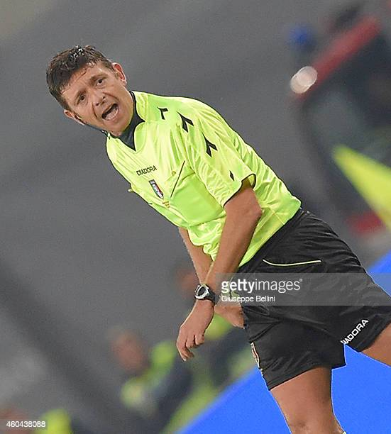 Referee Gianluca Rocchi during the Serie A match between SS Lazio and Atalanta BC at Stadio Olimpico on December 13 2014 in Rome Italy