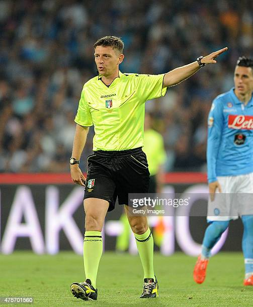 Referee Gianluca Rocchi during the Serie A match between SSC Napoli and SS Lazio at Stadio San Paolo on May 31 2015 in Naples Italy