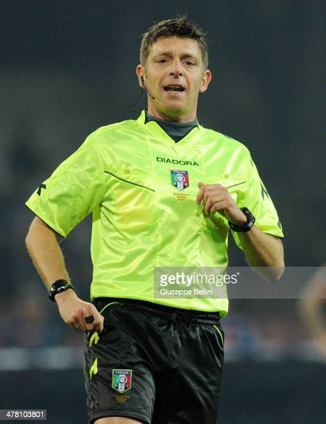 Referee Gianluca Rocchi during the Serie A match between SSC Napoli and AS Roma at Stadio San Paolo on March 9 2014 in Naples Italy