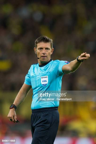 Referee Gianluca Rocchi during the UEFA Champions League group H match between Tottenham Hotspur and Borussia Dortmund at Wembley Stadium on...