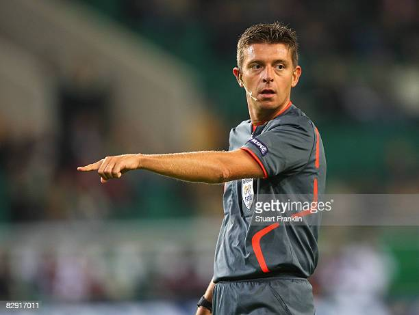 Referee Gianluca Rocchi during the UEFA Cup match first round first leg between VfL Wolfsburg and Rapid Bucharest on September 18 2008 in Wolfsburg...