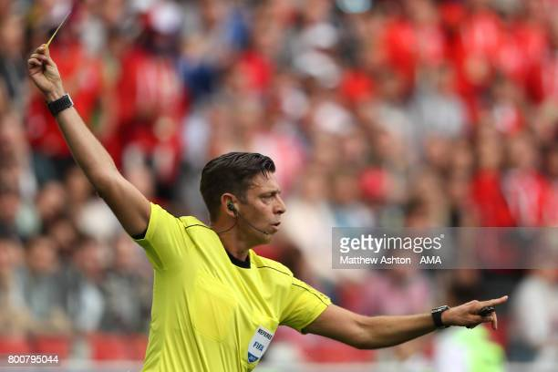 Referee Gianluca Rocchi gestures during the FIFA Confederations Cup Russia 2017 Group B match between Chile and Australia at Spartak Stadium on June...