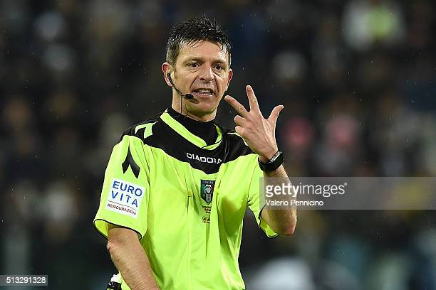 Referee Gianluca Rocchi gestures during the Serie A match between Juventus FC and FC Internazionale Milano at Juventus Arena on February 28 2016 in...