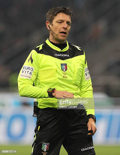 Referee Gianluca Rocchi looks on during the Serie A match between AC Milan and SSC Napoli at Stadio Giuseppe Meazza on January 21 2017 in Milan Italy