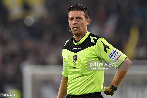 Referee Gianluca Rocchi looks on during the Serie A match between Juventus FC and Torino FC at Juventus Arena on October 31 2015 in Turin Italy