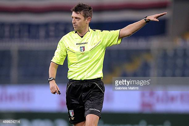 Referee Gianluca Rocchi of Firenze gestures during the Serie A match between UC Sampdoria and SSC Napoli at Stadio Luigi Ferraris on December 1 2014...
