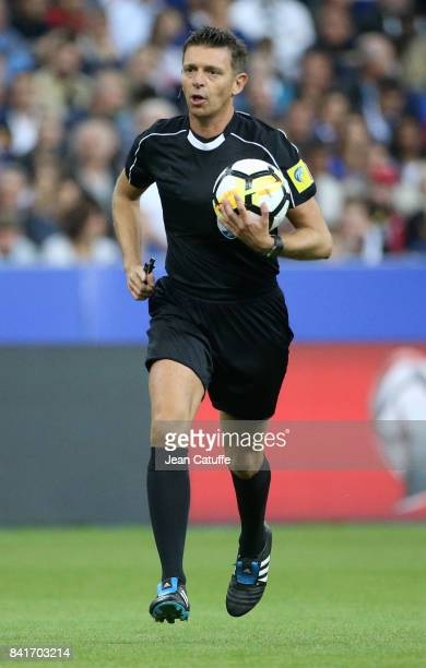 Referee Gianluca Rocchi of Italy during the FIFA 2018 World Cup Qualifier between France and the Netherlands at Stade de France on August 31 2017 in...