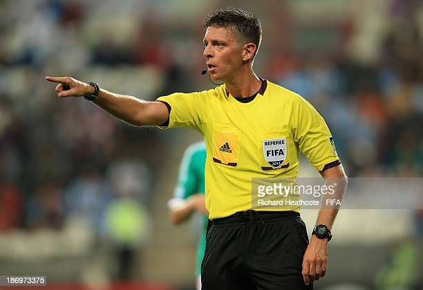 Referee Gianluca Rocchi of Italy during the FIFA U17 World Cup UAE 2013 Semi Final match between Argentina and Mexico at the Mohamed Bin Zayed...