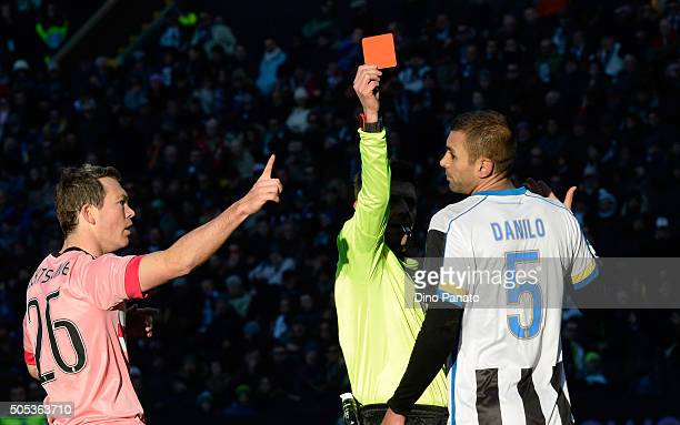 Referee Gianluca Rocchi shows red card to Danilo Larangeira of Udinese Calcio during the Serie A match between Udinese Calcio and Juventus FC at...
