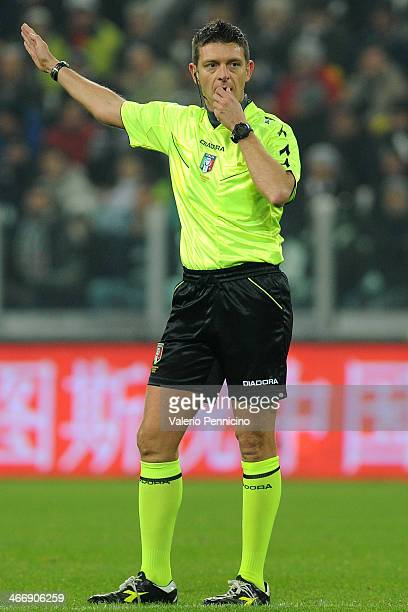 Referee Gianluca Rocchi signals a foul during the Serie A match between Juventus and FC Internazionale Milano at Juventus Arena on February 2 2014 in...