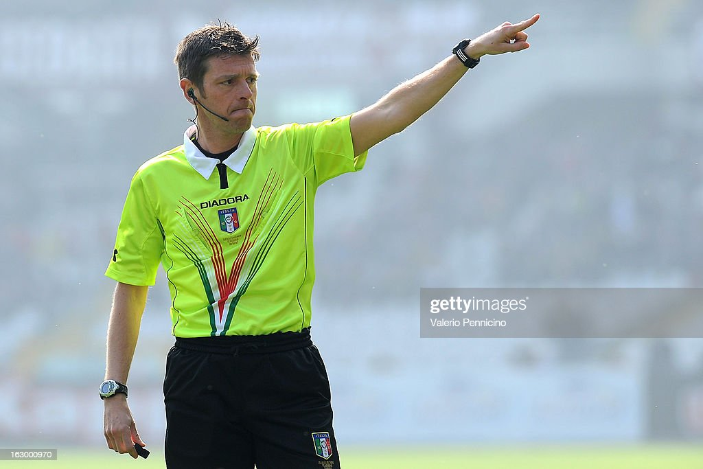 Referee Gianluca Rocchi signals a foul during the Serie A match between Torino FC and US Citta di Palermo at Stadio Olimpico di Torino on March 3, 2013 in Turin, Italy.