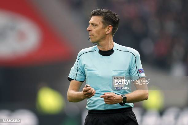 referee Gianluca Rocchiduring the UEFA Europa League semi final match between Ajax Amsterdam and Olympique Lyonnais at the Amsterdam Arena on May 03...