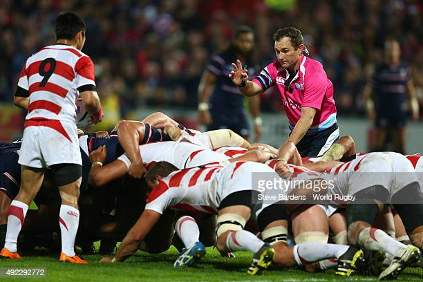 Referee Glen Jackson looks over the scrum during the 2015 Rugby World Cup Pool B match between USA and Japan at Kingsholm Stadium on October 11 2015...