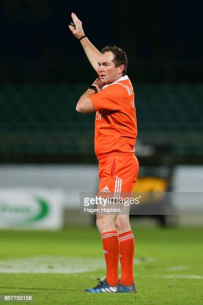 Referee Glen Jackson makes a call during the round eight Mitre 10 Cup match between Manawatu and Counties Manukau at Central Energy Trust Arena on...
