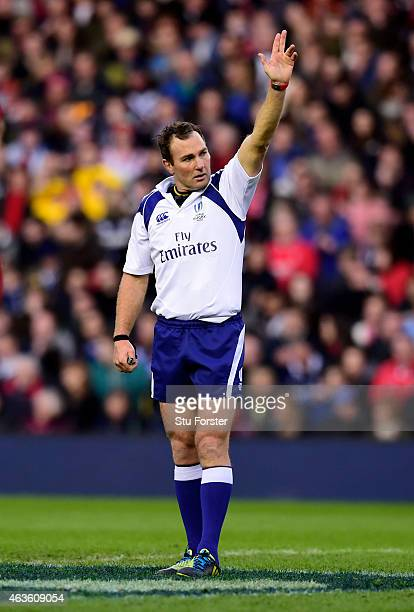 Referee Glen Jackson of New Zealand in action during the RBS Six Nations match between Scotland and Wales at Murrayfield Stadium on February 15 2015...