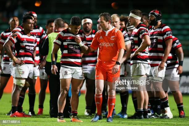 Referee Glen Jackson speaks to Augustine Pulu of Counties Manukau before showing him a red card during the round eight Mitre 10 Cup match between...