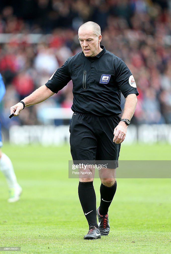 Referee Graham Salisbury in action during the Sky Bet League One Semi Final First Leg between Peterborough United and Leyton Orient at London Road Stadium on May 10, 2014 in Peterborough, England.