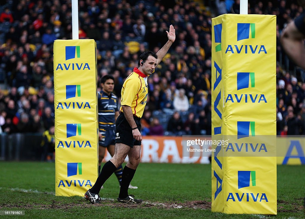 Referee Greg Garner awards a penalty try during the Aviva Premiership match between Worcester Warriors and Northampton Saints at Sixways Stadium on February 16, 2013 in Worcester, England.