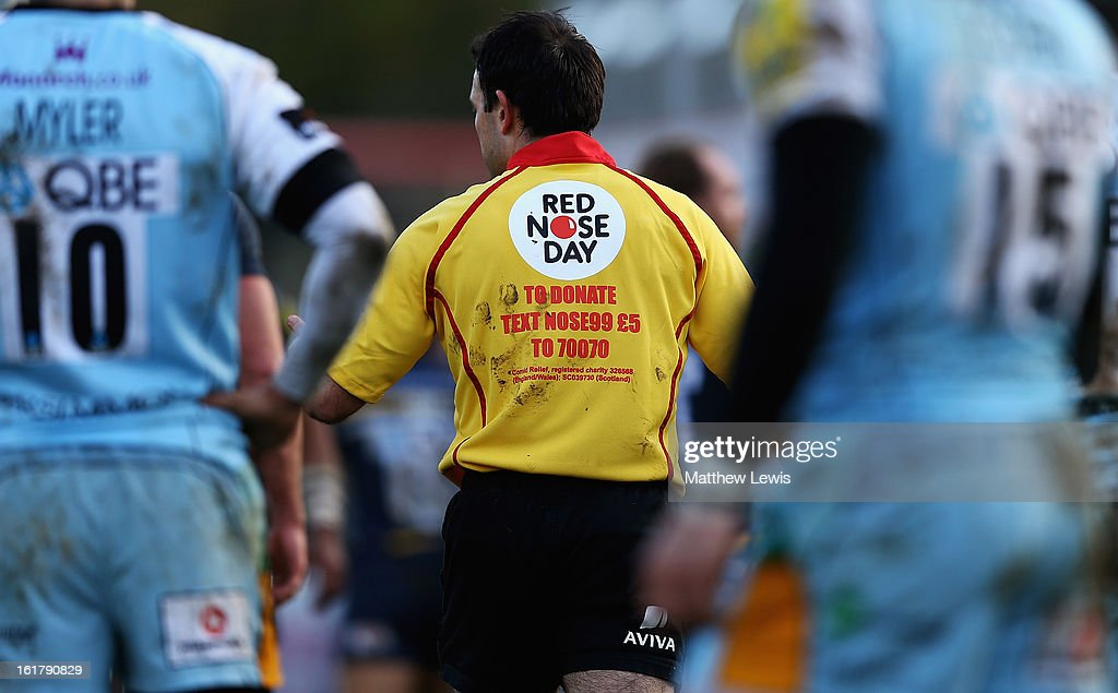 Referee Greg Garner wears a Comic Relief branded shirt during the Aviva Premiership match between Worcester Warriors and Northampton Saints at Sixways Stadium on February 16, 2013 in Worcester, England.