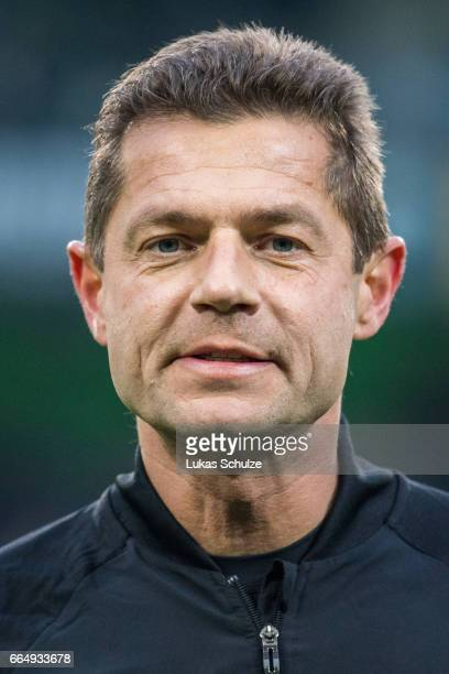 Referee Guenter Perl is seen prior to the Bundesliga match between Borussia Moenchengladbach and Hertha BSC at BorussiaPark on April 5 2017 in...