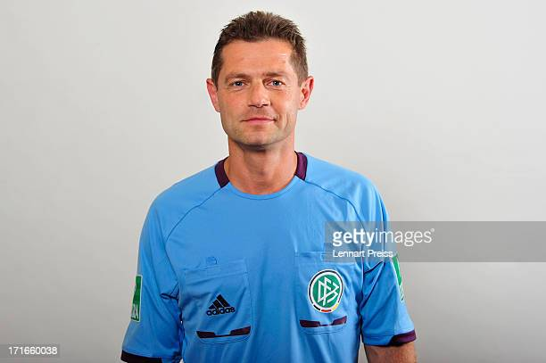 Referee Guenter Perl poses during the DFB referee team presentation on June 27 2013 in Grassau Germany