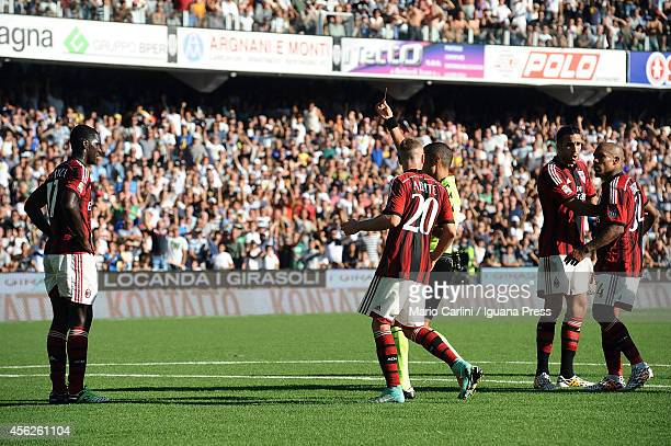 Referee Guida shows a red card to Cristian Zapata of AC Mikan during the Serie A match between AC Cesena and AC Milan at Dino Manuzzi Stadium on...