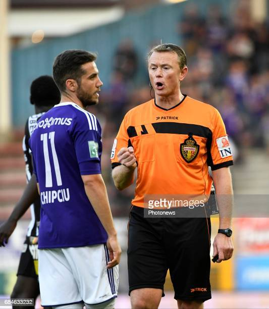 referee Gumienny Serge and Alexandru Chipciu midfielder of RSC Anderlecht during the Jupiler Pro League playoff 1 match between Royal Charleroi...