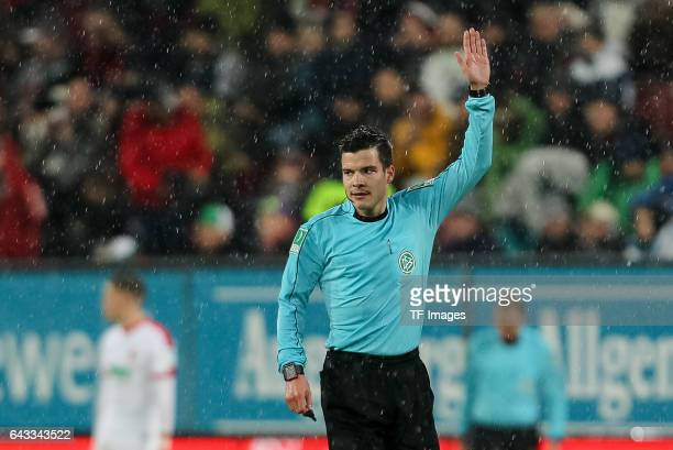 Referee Harm Osmers gestures during the Bundesliga match between FC Augsburg and Bayer 04 Leverkusen at WWK Arena on February 17 2017 in Augsburg...