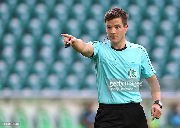 Referee Harm Osmers gestures during the friendly match between VfL Wolfsburg and Dynamo Dresden at Volkswagen Arena on September 2 2016 in Wolfsburg...