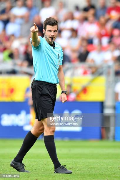 Referee Harm Osmers gestures during the Second Bundesliga match between SSV Jahn Regensburg and 1 FC Nuernberg at Continental Arena on August 6 2017...