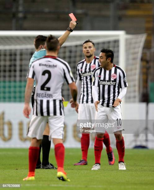 Referee Harm Osmers gives Marco Fabian of Frankfurt Red card during the Bundesliga match between TSG 1899 Hoffenheim and Hertha BSC at Wirsol...