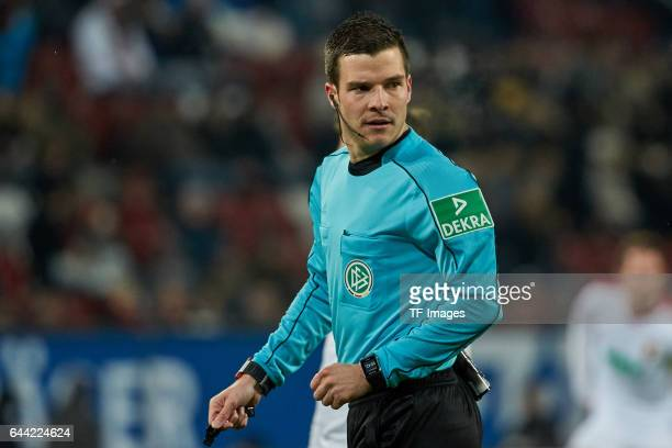 Referee Harm Osmers looks on during the Bundesliga match between FC Augsburg and Bayer 04 Leverkusen at WWK Arena on February 17 2017 in Augsburg...