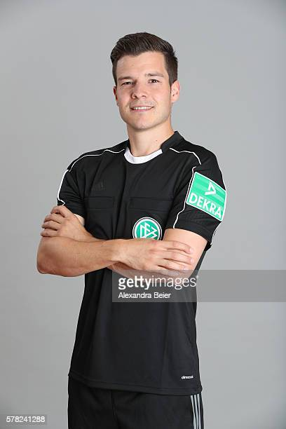 Referee Harm Osmers poses during the DFB referee team presentation on July 13 2016 in Grassau Germany