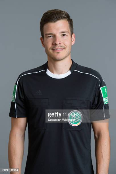 Referee Harm Osmers poses during the DFB referee team presentation on July 5 2017 in Grassau Germany