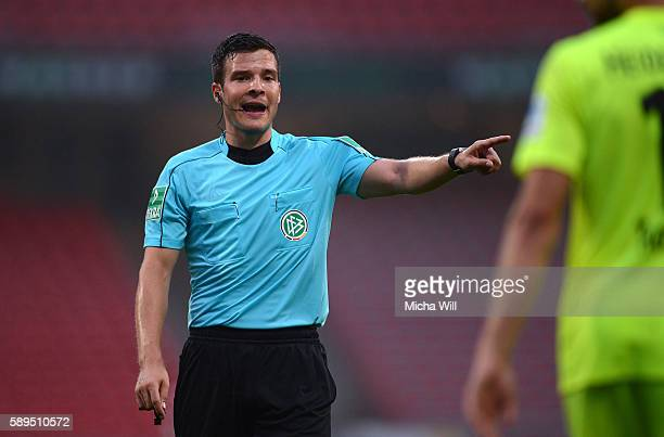 Referee Harm Osmers reacts during the Second Bundesliga match between 1 FC Nuernberg and 1 FC Heidenheim 1846 at Arena Nuernberg on August 12 2016 in...