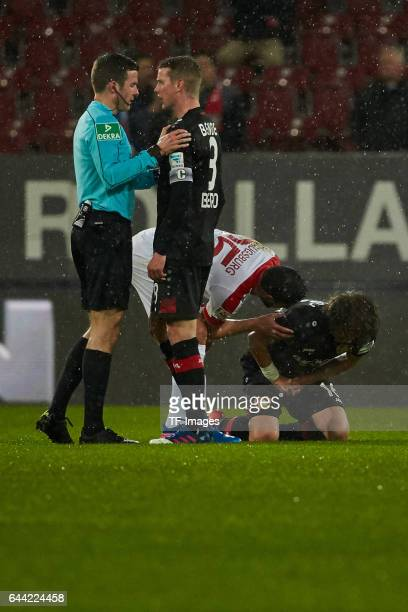 Referee Harm Osmers speak with Lars Bender of Bayer Leverkusen during the Bundesliga match between FC Augsburg and Bayer 04 Leverkusen at WWK Arena...